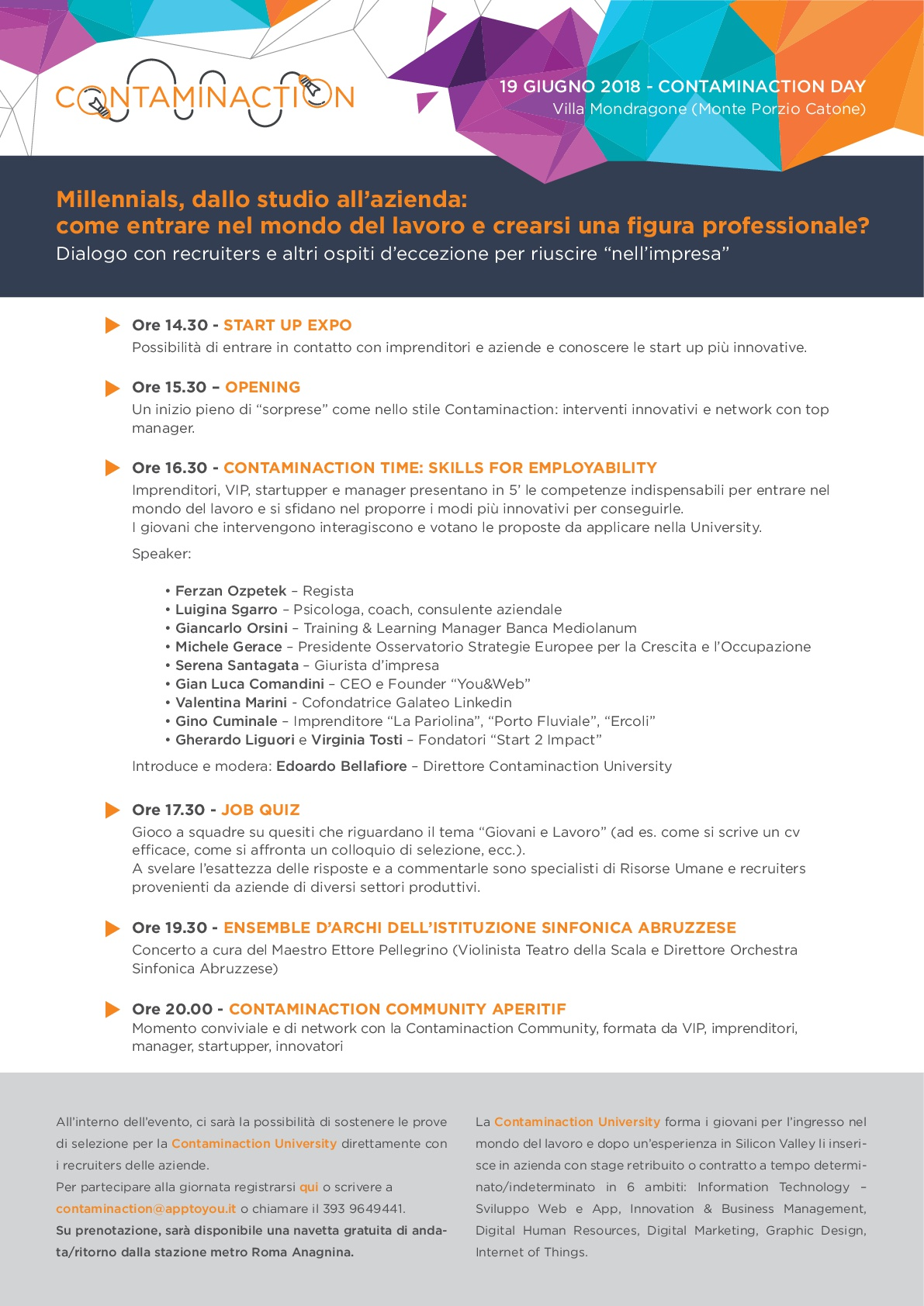Programma Contaminaction 19 Giugno